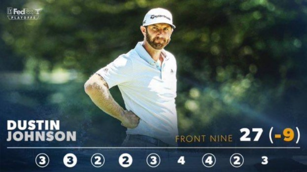 Dustin Johnson's front-nine score from the second round.