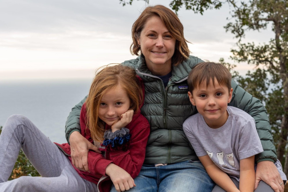 Laura Garrett with her two kids, Cecily and Theo.