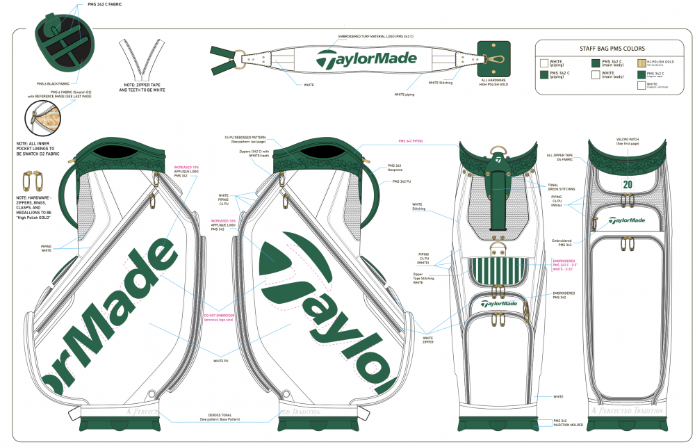 Original design renders for A Season's Tradition Staff Bag.
