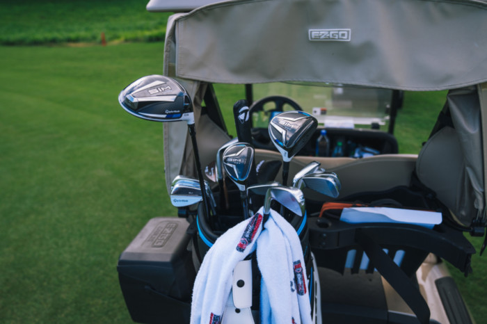 Dustin Johnson has a bag full of SIM clubs, including SIM Max driver, SIM Max fairway and SIM Max rescue.