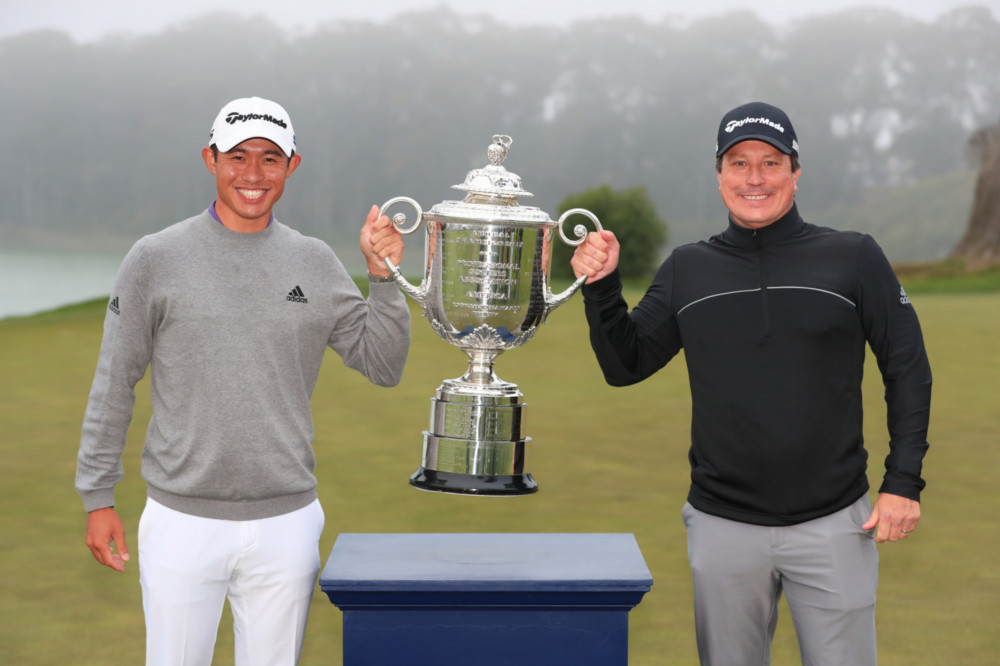 Collin Morikawa hoist the Wanamaker Trophy with long-time coach Rick Sessinghaus after winning 2020 PGA Championship.